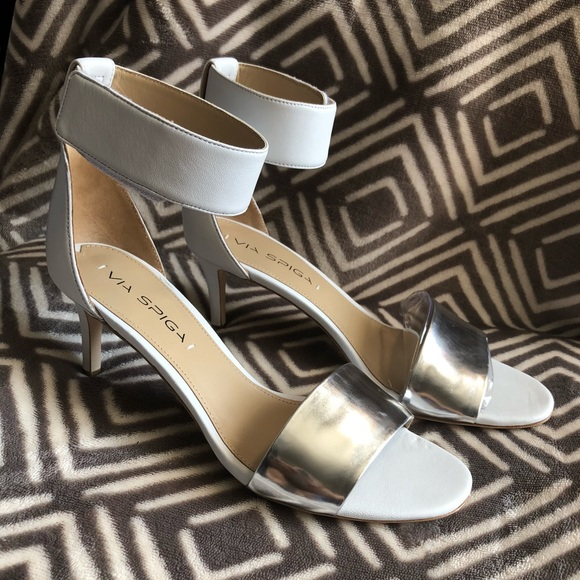 Via Spiga Shoes - 🎉Host Pick🎉 Via Spiga Metallic & White Heels